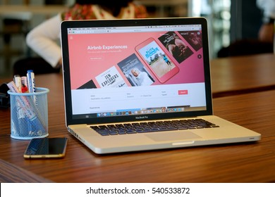 CHIANG MAI ,THAILAND DEC 21 2016 :  Apple Macbook pro with page Airbnb on the screen.Airbnb is a website for people to list, find, and rent lodging.