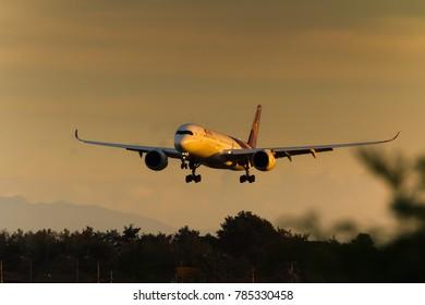 Chiang Mai, Thailand. Dec 31, 2017. Thai Airways International Airbus A350-941 Reg. HS-THD on Short Final Approaching for Landing at Chiang Mai International Airport in The Evening with Twilight.