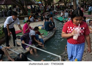 CHIANG MAI, THAILAND - December 11, 2017: lots of tourist enjoy their holiday at Sankampaeng hot springs at San Kampang district. Sankampaeng hot spring in one top tourist destinationin Chiang Mai.