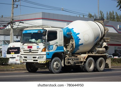 CHIANG MAI, THAILAND -DECEMBER 12 2017: Concrete truck of CPAC Concrete product company. Photo at road no.121 about 8 km from downtown Chiangmai, thailand.