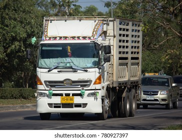 CHIANG MAI, THAILAND -DECEMBER 12 2017:  Private Hino  Cargo Truck. Photo at road no.1001 about 8 km from downtown Chiangmai, thailand.