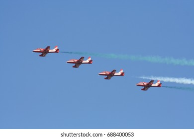 CHIANG MAI , THAILAND - DECEMBER 14 2007: HJT-16 Kiran of Surya Kiran, Team of the Indian Air Force. HJT-16 is an Indian jet trainer built by Hindustan Aeronautics Limited. Fly Over Chiangmai Sky.