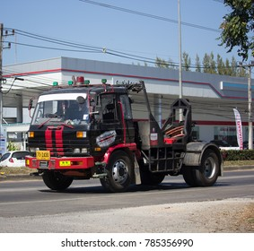 CHIANG MAI, THAILAND -DECEMBER 15 2017: Nam Jaruen Tow truck for emergency car move. Photo at road no 121 about 8 km from downtown Chiangmai, thailand.