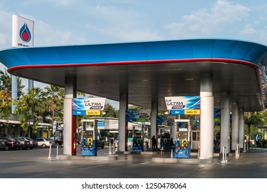 Chiang Mai, Thailand - December 2, 2018. Petroleum Authority of Thailand (PTT) service station outside of Chiang Mai.