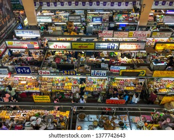 Chiang Mai, Thailand, December 2018 : Warorot Market in Chiang Mai, high angle shot of crowded market that located for sell local snacks and all kinds of fresh produce.