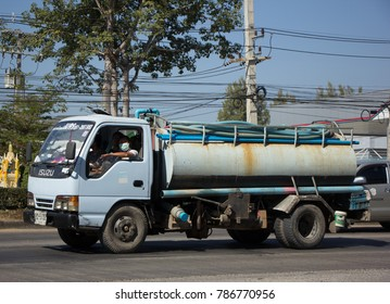 CHIANG MAI, THAILAND -DECEMBER 24 2017: Private of Sewage Tank  truck. Photo at road no.121 about 8 km from downtown Chiangmai, thailand.