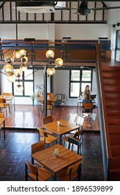 CHIANG MAI, THAILAND- DECEMBER 25, 2016: Interior architecture and building design at 'CAFE NO.8' local coffee cafe and bakery shop decorated with wooden furniture and parquet panels