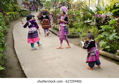 CHIANG MAI, THAILAND - DECEMBER 28 : Children Ethnic Hmong wear costume traditional and playing with friends at Doi Pui Tribal Village and National Park on December 28, 2016 in Chiang Mai, Thailand.