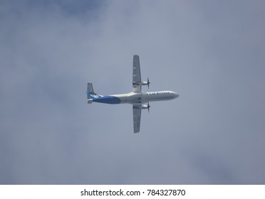 CHIANG MAI, THAILAND -DECEMBER 31 2017: RDPL-34173 ATR72-500 of Lao Airlines. In Flight Chiang mai to Luang Prabang.