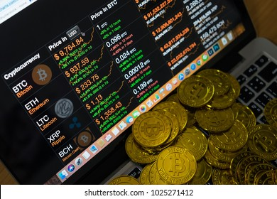 CHIANG MAI, THAILAND - FEB 15, 2018: Bitcoin exchange to dollar rate on Macbook display. Cryptocurrency market chart.
