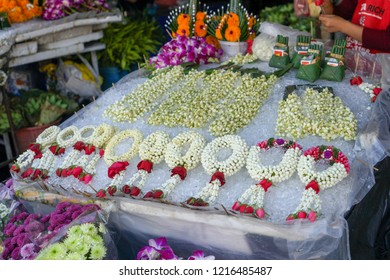 Chiang Mai, Thailand - FEB 2017 : Market of flower, the locals use marigolds, garlands, and cigarettes to express their thoughts on the deceased