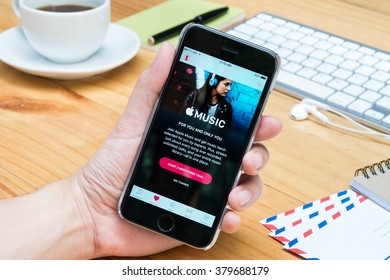 CHIANG MAI, THAILAND - FEB 21,2016: Apple Music iOS application is launching on iPhone. Apple Music is the company's new streaming music service provided by Apple.
