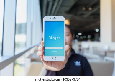 CHIANG MAI, THAILAND - Feb 22,2018: Woman holding Apple iPhone 6S Rose Gold with skype apps. Skype is part of Microsoft, can make video, audio calls, chat messages and do much more using Skype.
