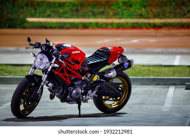 CHIANG MAI, THAILAND - FEB 27 2021 : Ducati Monster 696 at the city street.