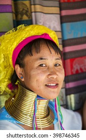 CHIANG MAI, THAILAND - FEBRUARY 01, 2016: Unidentified woman from Karen Long Neck Village near Chiang Mai, Thailand. This village is a part of very popular Hill tribe tourism in Thailand.