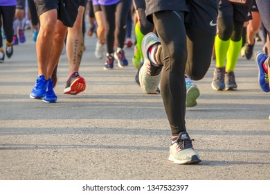 Chiang Mai Thailand, February 08, 2019 : Feet of Chiang Mai people running on marathon race.