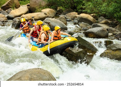 CHIANG MAI, THAILAND - FEBRUARY 12 : White water rafting on the rapids of river Maetang on FEBRUARY 12, 2015 in Chiang Mai, Thailand.  Maetang river is one of the most dangerous rivers of Thailand.