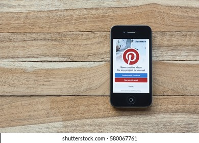CHIANG MAI, Thailand - February 15,2017: Smart phone with social Internet service Pinterest on the screen. Pinterest is an online pinboard that allows people to pin their interesting things.
