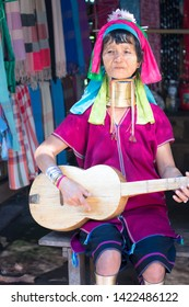 CHIANG MAI, THAILAND - February 16 , 2019 : Unidentified Long neck Karen tribe with golden rings on her neck. Lifestyle Karen Long neck village in Chiang mai, Thailand