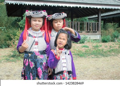 CHIANG MAI, THAILAND - February 16 , 2019 : Unidentified name Karen tribe , Karen village in Chiang mai, Thailand