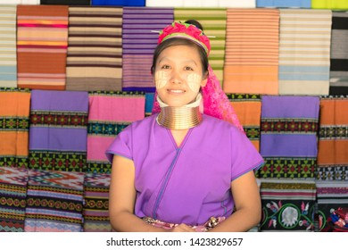CHIANG MAI, THAILAND - February 16 , 2019 : Unidentified Long neck Karen tribe with golden rings on her neck.Long Neck Karen children and Lifestyle Karen Long neck village in Chiang mai, Thailand