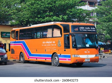 CHIANG MAI, THAILAND - FEBRUARY  28 2015:  Cargo Express Bus of  The Transport Company Limited. Photo at Chiangmai bus station, thailand.