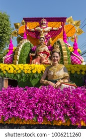 Chiang Mai, Thailand - February 4, 2017: The parade cars are decorated with many different kinds of flowers during Anniversary Chiang Mai Flower Festival 2017 opening ceremony.