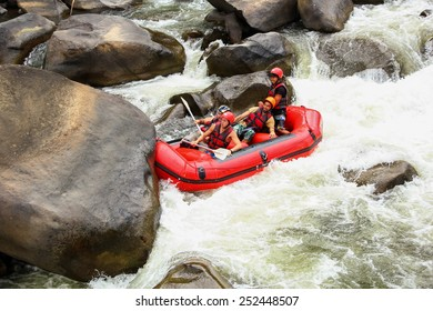 CHIANG MAI, THAILAND - FEBRUARY 6 : White water rafting on the rapids of river Maetang on FEBRUARY 6, 2015 in Chiang Mai, Thailand.  Maetang river is one of the most dangerous rivers of Thailand.