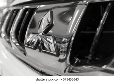 CHIANG MAI, THAILAND - February 7,2017: Mitsubishi Logo from Mitsubishi  car. Mitsubishi Motor assembled in Japan
