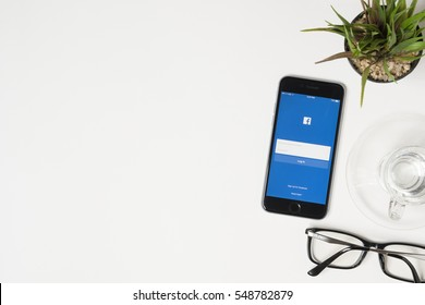 CHIANG MAI, THAILAND - Jan 03, 2017: The Facebook iOS application is launching on iPhone. The login screen is showing. Facebook is the social network application that connects people together online.