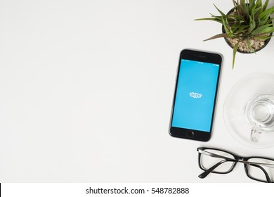 CHIANG MAI, THAILAND - Jan 03, 2017: Apple iPhone with Skype application on the screen. Skype is an application that providing text chat, video chat and voice calls