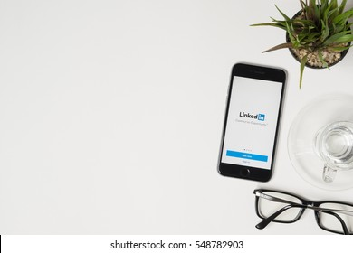 CHIANG MAI, THAILAND - Jan 03, 2017: Apple iPhone with LinkedIn application on the screen. LinkedIn is a business-oriented social networking service.