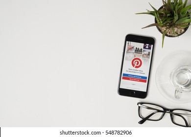 CHIANG MAI, THAILAND - Jan 03, 2017: Apple iPhone with Pinterest application on the screen. Pinterest is an online pinboard that allows people to pin their interesting things.