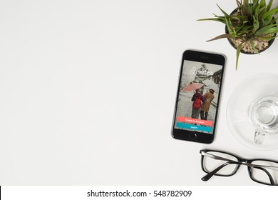 CHIANG MAI, THAILAND - Jan 03, 2017: Apple iPhone with Airbnb application on the screen. Airbnb is a website for people to list, find, and rent lodging.