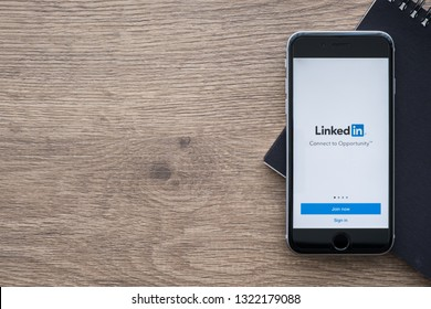 CHIANG MAI, THAILAND - Jan 09, 2019: Apple iPhone with LinkedIn