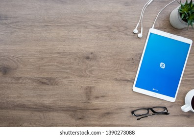 CHIANG MAI, THAILAND - Jan 09, 2019: Apple iPad Pro with Skype application on the screen. Skype is an application that providing text chat, video chat and voice calls.