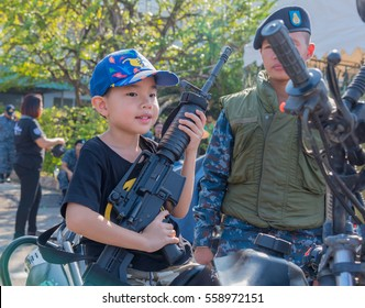 CHIANG MAI, THAILAND - JAN 14: 2017 unidentified people celebrate Children's Day at Wing 41 Royal Thai Air Force base January 14, 2017 in Chiang Mai, Thailand.