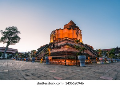 Chiang Mai, Thailand - Jan 2018 : Wat Chedi Luang is a Buddhist temple in the historic centre of Chiang Mai