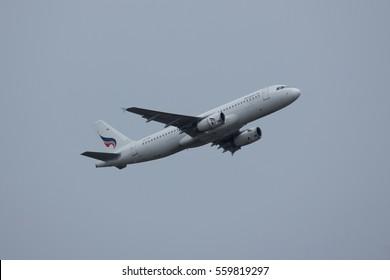 CHIANG MAI, THAILAND -JANUARY 11 2017:  HS-PPH Airbus A320-200 of Bangkok airway. Take off from Chiangmai airport to Bangkok Suvarnabhumi.