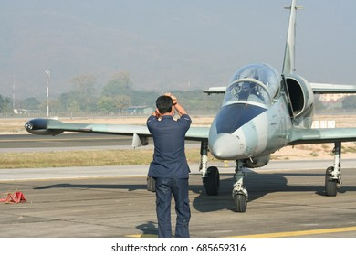 CHIANG MAI , THAILAND - JANUARY 12 2008: Technical Team  of L-39 Albatros of Royal Thai Air force. Show in Children Day. Photo at Chiangmai international Airport.