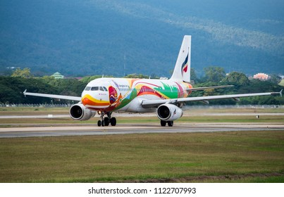 Chiang Mai, Thailand - January 12,2017 : Airbus A320 of Bangkok Airways Registered HS-PGU ( Guilin ) rolling engine for take off on runways at Chiang Mai International Airport.