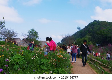 Chiang Mai, Thailand - January 14 2018: Many people is on (Mon Jam) mountain in a holiday at Chiang Mai.