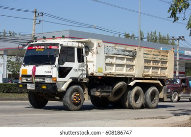CHIANG MAI, THAILAND -JANUARY 16 2017:  Old Private Mitsubishi Fuso Dump Truck. On road no.1001, 8 km from Chiangmai Business Area.