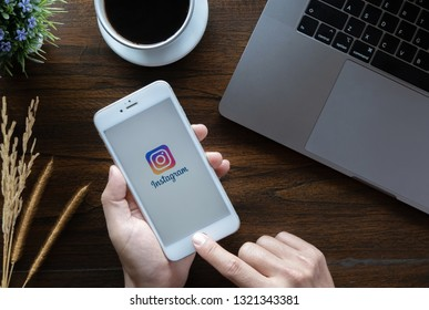 CHIANG MAI, THAILAND - January 20, 2019 : A woman hand holding iphone 6 with login screen of instagram application. Instagram is largest and most popular photograph social networking