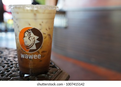 CHIANG MAI, THAILAND - JANUARY 21 2018: A Glass of Latte from Wawee Coffee Brand  in Chiang Mai  on January 21,2018