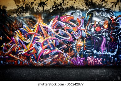 Chiang Mai, Thailand - January 22, 2016: Graffiti wall on Street public gallery