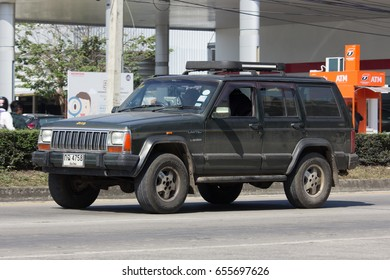 CHIANG MAI, THAILAND -JANUARY 24 2017: Private jeep 4X4 Cherokee car. On road no.1001, 8 km from Chiangmai city.