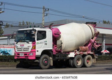 CHIANG MAI, THAILAND -JANUARY 24 2017: Cement truck of Thanachai company. Photo at road no 121 about 8 km from downtown Chiangmai, thailand.