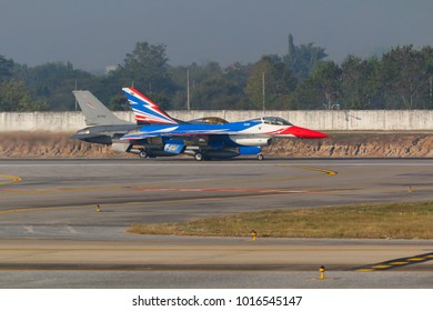 Chiang Mai, Thailand. January 29, 2015. Royal Thai Air Force General Dynamics F-16A Fighting Falcon Making Two Fomation for Departure from Chiang Mai International Airport.