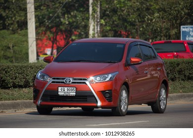 CHIANG MAI, THAILAND -JANUARY 9 2018:  Private Car toyota Yaris Hatchback Eco Car.  Photo at road no 121 about 8 km from downtown Chiangmai thailand.